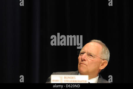 German Minister of Fianance Wolfgang Schaeuble speaks during the 50th conference of accountants in Berlin, Germany, - Stock Photo