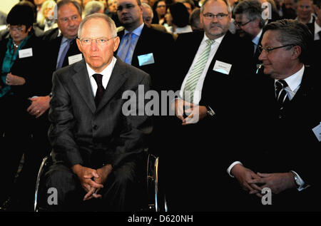 German Minister of Fianance Wolfgang Schaeuble (l) attends the 50th conference of accountants in Berlin, Germany, - Stock Photo