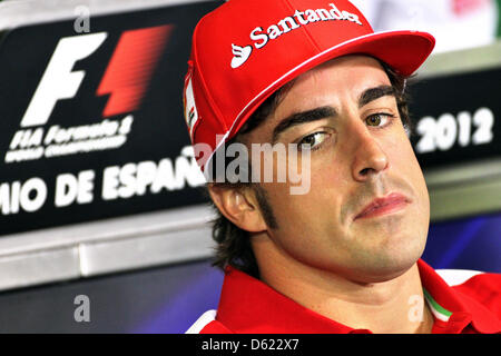 Spanish Formula One driver Fernando Alonso of Ferrari is seen during the press conference at the Circuit de Catalunya - Stock Photo