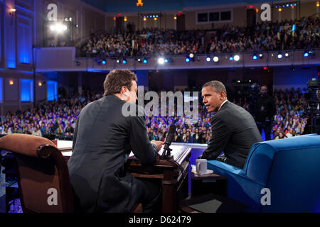 United States President Barack Obama talks with Jimmy Fallon during a taping of 'Late Night With Jimmy Fallon' at - Stock Photo