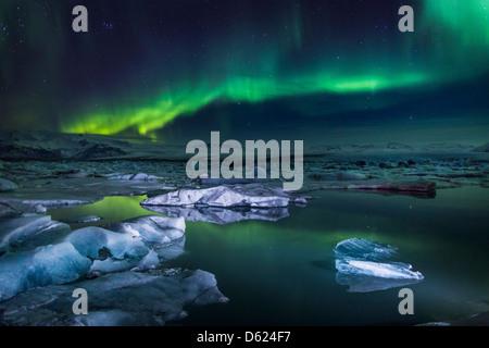 Aurora Borealis or Northern lights at the Jokulsarlon, Breidarmerkurjokull Vatnajokull Ice Cap, Iceland - Stock Photo