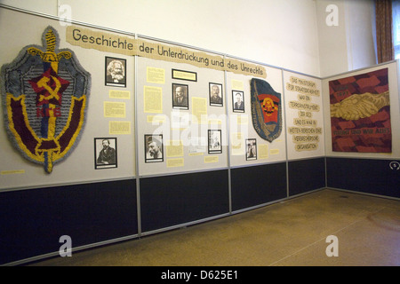Introductory display in Stasi Museum dedicated to exposing the oppressive rule of Germany's secret police during - Stock Photo