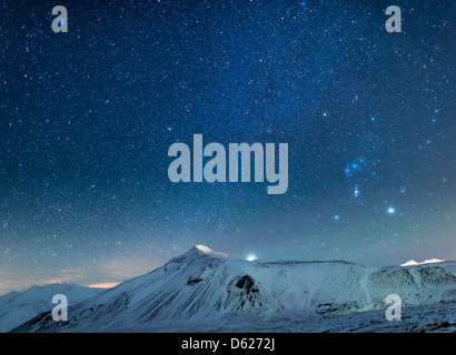 Starry night-Milky Way over snow covered landscape, Iceland - Stock Photo