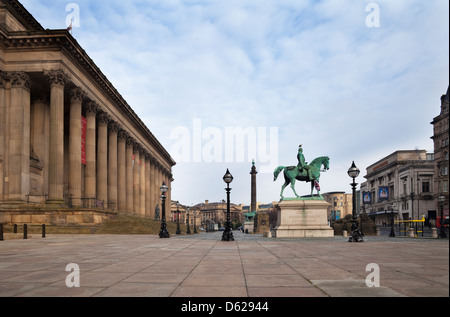 St George's Hall, Plateau and Prince Albert statue, Lime Street, Liverpool,  part of the William Brown Street conservation - Stock Photo