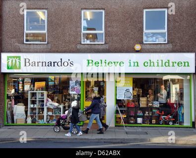Barnardo's charity shop, Consett, County Durham, England, UK - Stock Photo