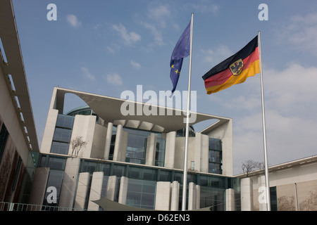 Exterior of the German Chancellery (Bundeskanzleramt) on Paul-Loeb-Allee, Berlin - Stock Photo