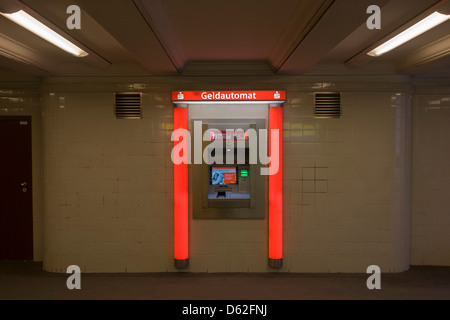 A cash dispenser in a U-Bahn station of Seestrasse in Wedding, a north-western district of Berlin. - Stock Photo