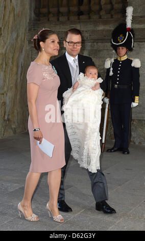 Crown Princess Victoria and Prince Daniel of Sweden arrive with their daughter Princess Estelle for the christening - Stock Photo