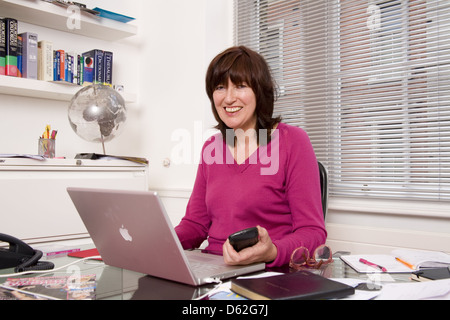 Janet Street-Porter, English media personality, journalist and broadcaster at the office for the deadline TV series,London. - Stock Photo