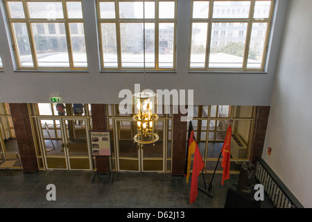 The main entrance of 'Haus 1' the ministerial headquarters of the Stasi secret police in Communist East Germany, - Stock Photo