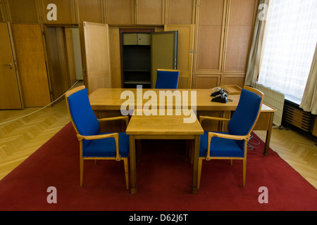 Desk in the preserved office of former Minister in charge of GDR secret police chief, Erich Mielke - an exhibit - Stock Photo