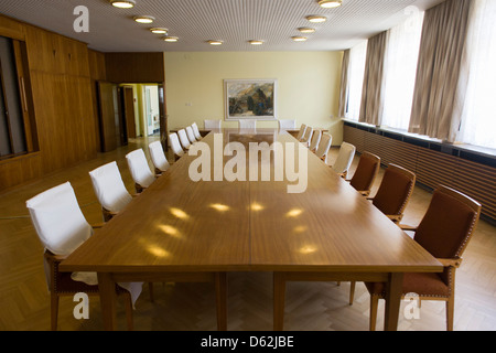 The conference room where the heads of the GDR secret police met with district administrators, an exhibit in 'Haus - Stock Photo