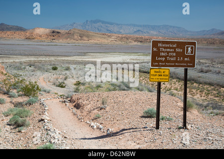 Town submerged by Hoover Dam re-emerges due to drought in Western United States - Stock Photo