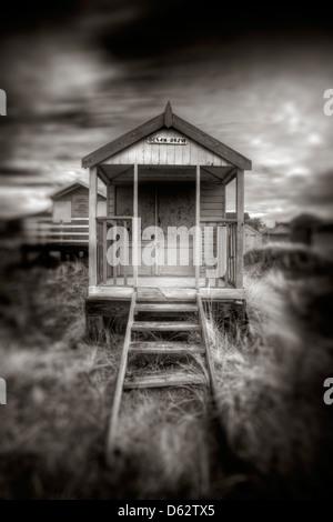 Ocean Drive beach hut at Old Hunstanton in Norfolk, UK - Stock Photo