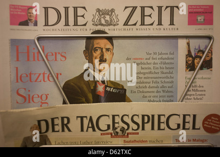 The German national newspaper Die Zeit displays a picture of National Socialist party leader (Nazi) Adolf Hitler - Stock Photo