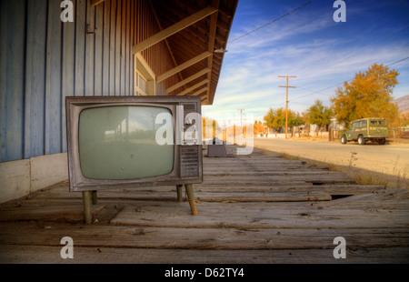 Tv set and disused railroad station, Keeler, California, USA - Stock Photo