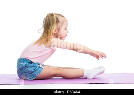 Kid girl doing fitness exercises - Stock Photo