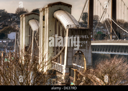 The Royal Albert Railway Bridge Crossing the River Tamar between Devon and Cornwall in the Southwest of England - Stock Photo