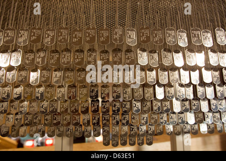 LBJ Museum in Austin, Texas where copies of military dog tags from Veterans from the Vietnam war were placed on - Stock Photo