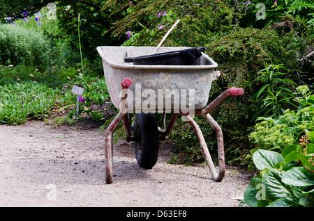 ... Gardening Wheelbarrow With Tool   Stock Photo