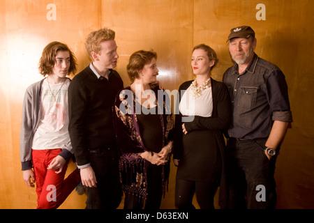 Richard Thompson (English singer songwriter) and Family Linda,Teddy, Kamila ,Zak, at the South Bank center London,England - Stock Photo