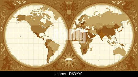 World map with retro-styled hemispheres - Stock Photo