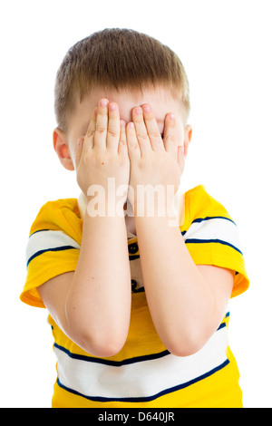 Kid crying or playing with hiding face isolated - Stock Photo