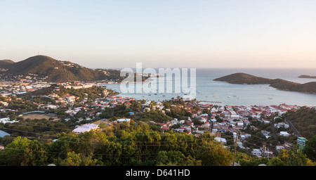 Sunset over the town and harbor of Charlotte Amalie in St Thomas, US Virgin Islands - Stock Photo