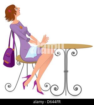 Woman with napkin  illustration - Stock Photo