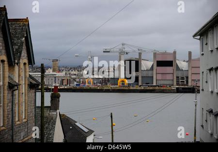 HM Dockyard Devonport, Plymouth, Devon, an MOD site, seen from across the estuary - Stock Photo