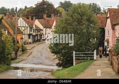 Kersey Village High Street Suffolk UK - Stock Photo