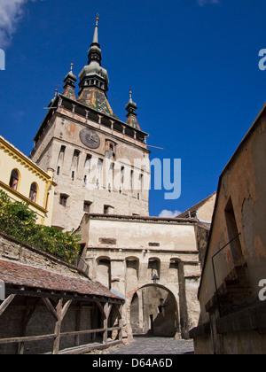 clock tower in sighisoara, transylvania, romania - Stock Photo