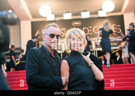 Singer Sting and his wife Trudie Styler arrive at the premiere of 'Mud' during the 65th Cannes Film Festival at - Stock Photo