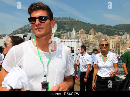 Germany's national soccer player Mario Gomez is seen before the start at the F1 race track of Monte Carlo, Monaco, - Stock Photo