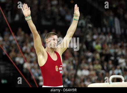 Gold medal winner Krisztian Berki of Hungary celebrates after the pommel horse performance during the Men's European - Stock Photo