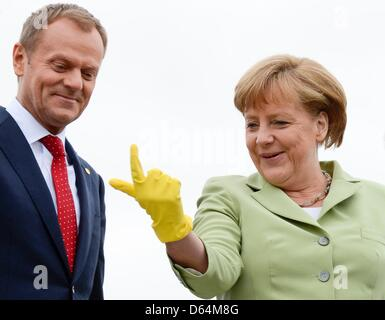 German Chancellor Angela Merkel jokes with Poland's Prime Minister Donald Tusk, after a penguin jumped back in the water during a feeding in the Oceaneum at the 'Council of the Baltic Sea States' leader summit in Stralsund, May 31, 2012. Photo: Fabian Bimmer  +++(c) dpa - Bildfunk+++