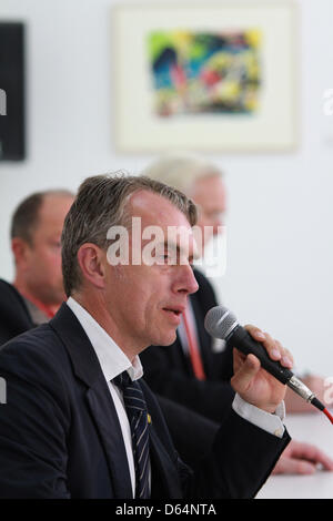 German artist Neo Rauch speaks during a press conference on the opening of the 'Grafikstiftung Neo Rauch' (Grafics - Stock Photo