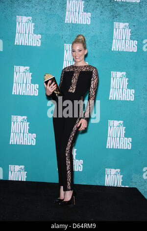 US actress Elizabeth Banks poses in the press room of the 2012 MTV Movie Awards at Gibson Amphitheatre in Universal - Stock Photo