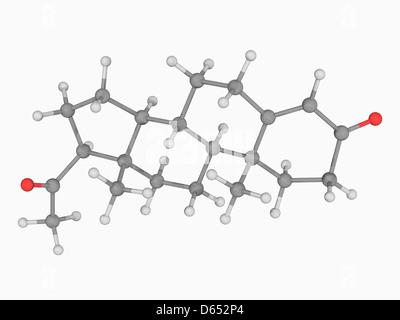 Progesterone hormone molecule - Stock Photo