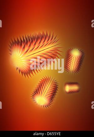 Virus particles, conceptual artwork - Stock Photo