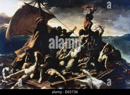Jean-Louis Andre Theodore Gericault (1791-1824). The Raft of the Medusa. 1819. Museum of Louvre. Paris. France. - Stock Photo