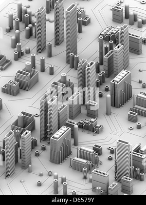 Circuit city, computer artwork - Stock Photo