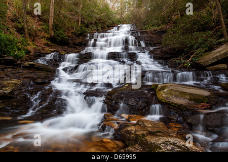 This is an image of Minnehaha Falls in Rabun County, Georgia.  The falls are on Falls Branch between its headwaters - Stock Photo