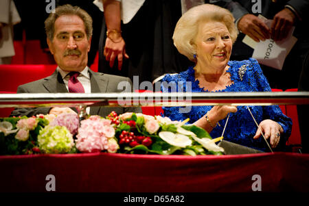Queen Beatrix of The Netherlands visits a ballet performance of NDT2 at the Mushin Ertugrul theater in Istanbul,Turkey, - Stock Photo