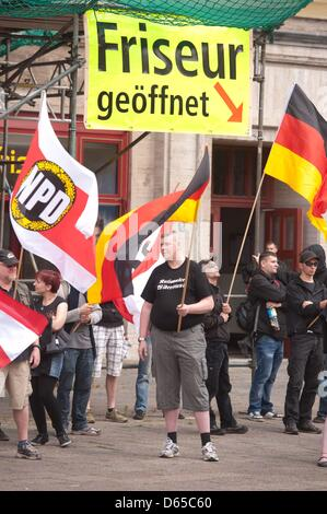 Members of the right-wing extremist NPD rally at Strausberger Platz in Berlin, Germany, 17 June 2012. Several dozen - Stock Photo
