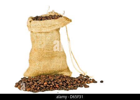 Coffee beans in a jute bag on a white background - Stock Photo