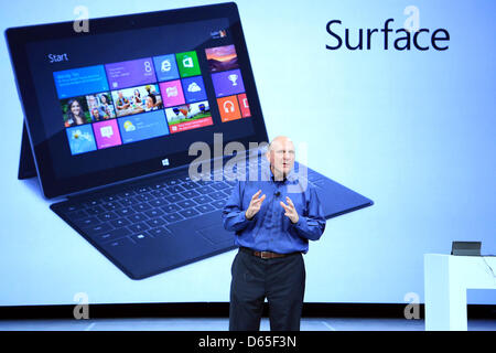 HANDOUT- Steve Ballmer, Microsoft Chief Executive Officer (CEO), presents 'Surface', the new family of tablet PCs - Stock Photo