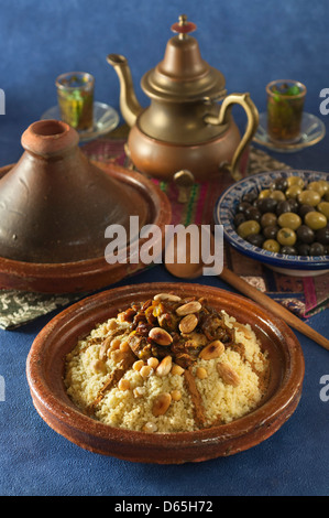 Tfaya couscous with candied fruit and onions Morocco Food - Stock Photo