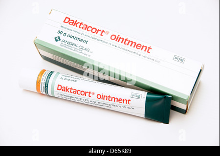 Daktacort ointment (miconazole nitrate) hydrocortisone steroid cream to treat inflamed conditions eczema dermatitis - Stock Photo