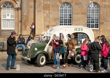 People buying ice cream from a van York North Yorkshire England UK United Kingdom GB Great Britain - Stock Photo